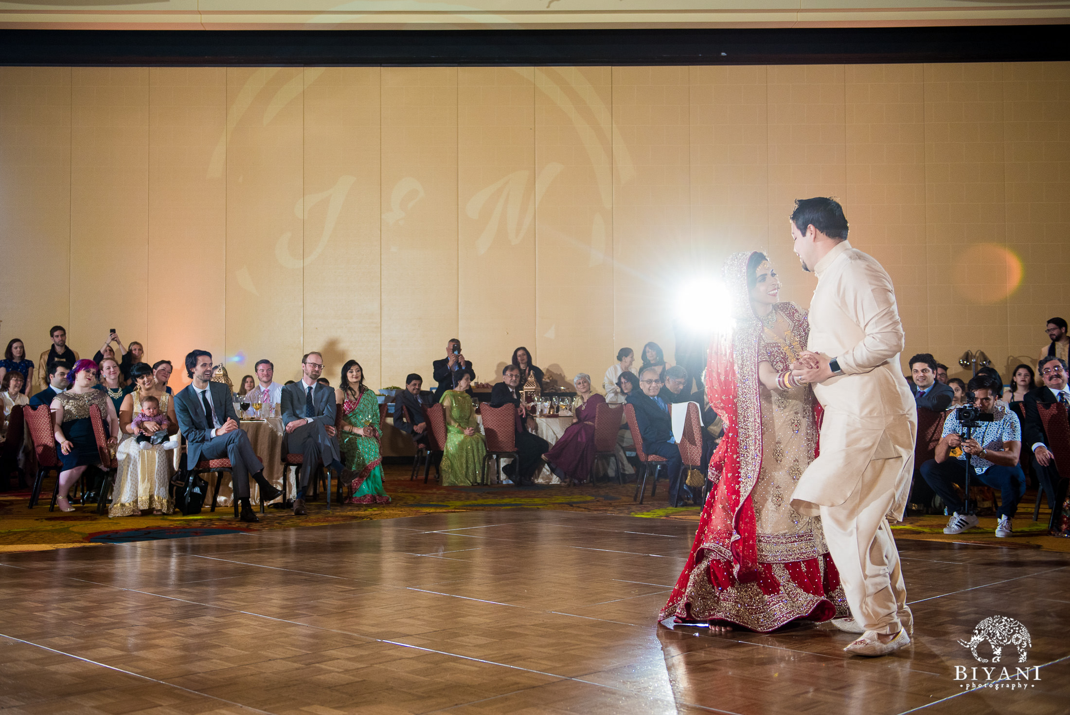 Indian Fusion Wedding Reception first dance with bride and groom