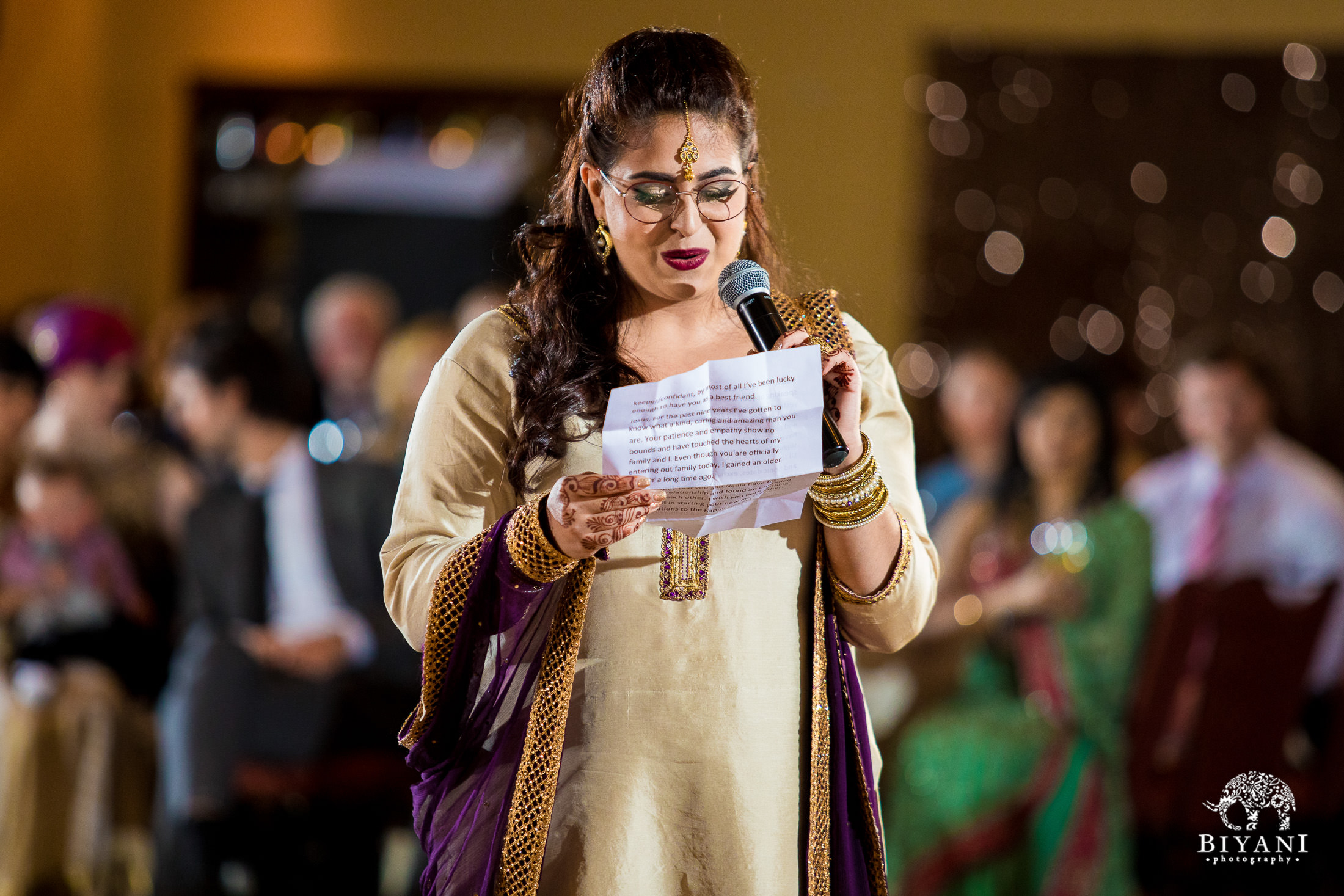 Indian Fusion Wedding Reception speeches from bride and groom's family