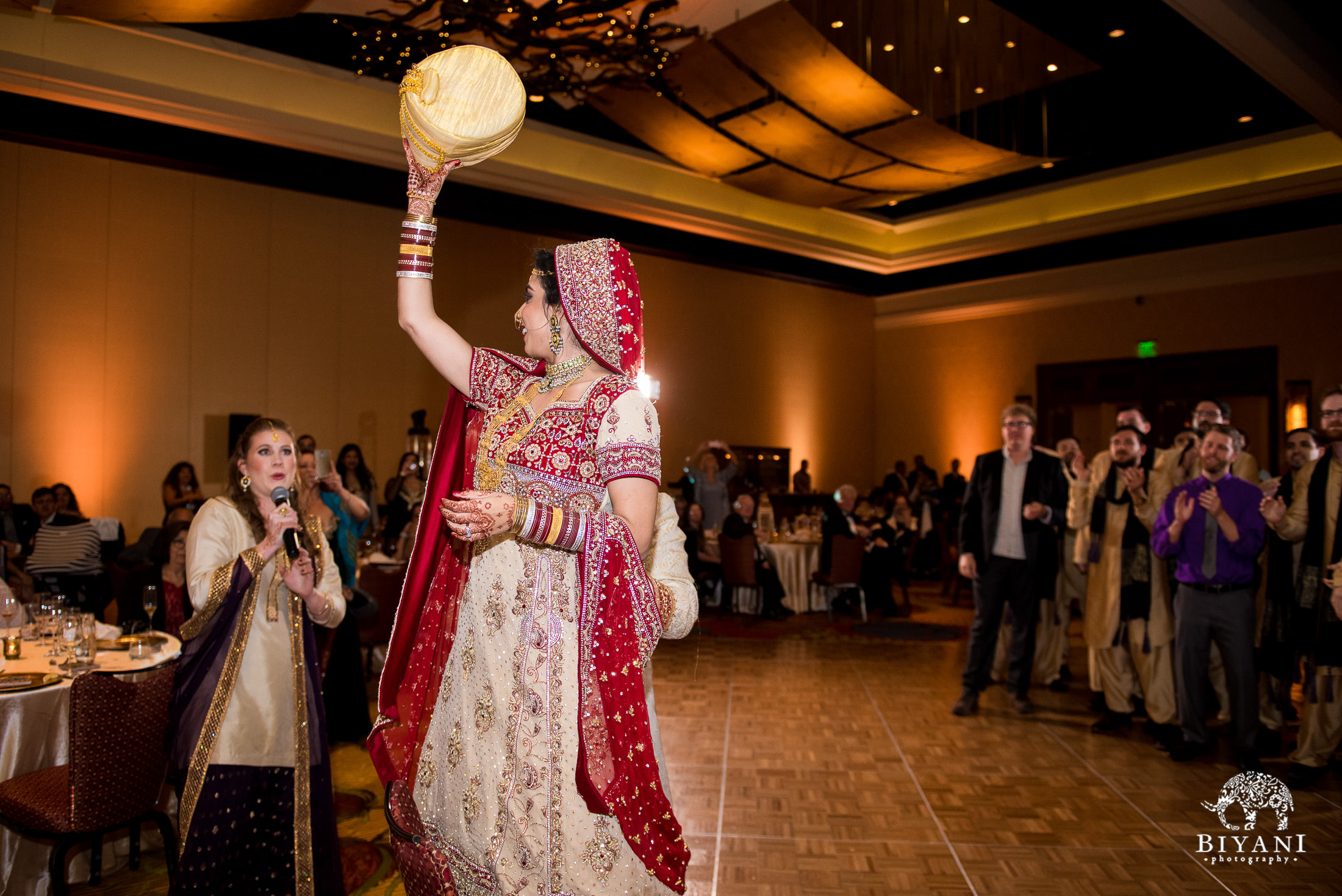 Indian Fusion Wedding Reception party games with the bride