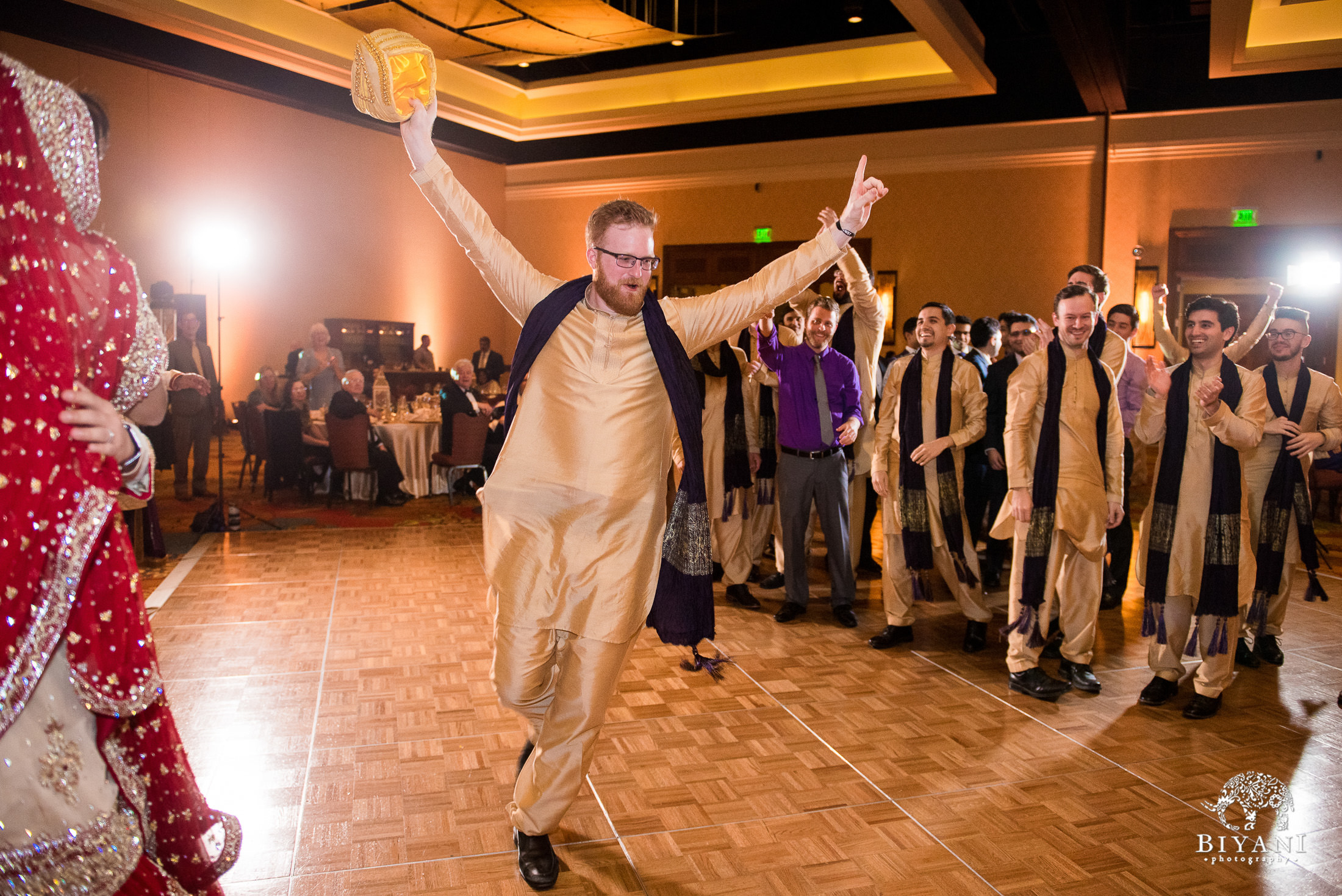 Indian Fusion Wedding Reception party games with the bride and groomsmen