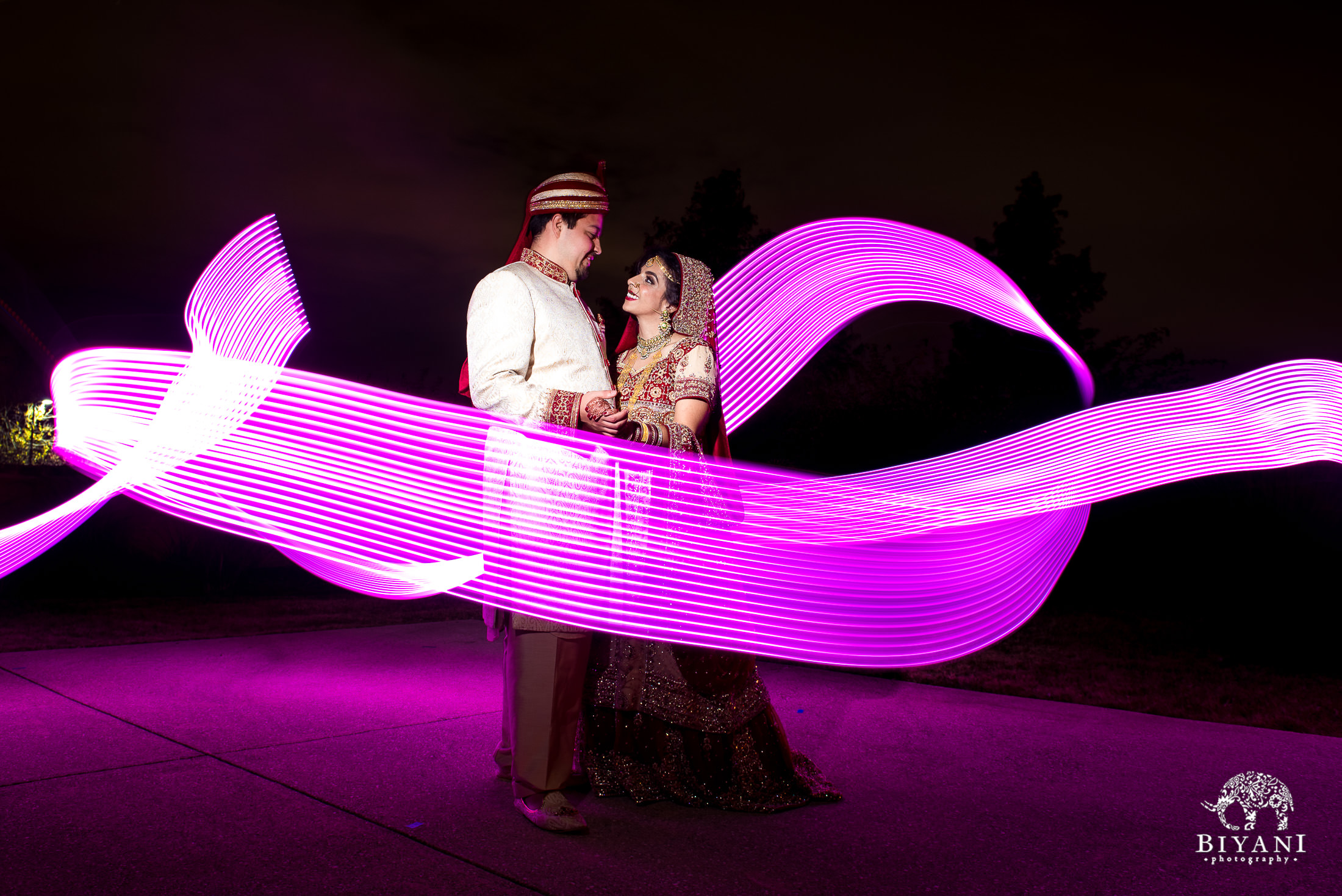Indian Fusion Bride and Groom Portraits at night with light stick in San Antonio, Tx.