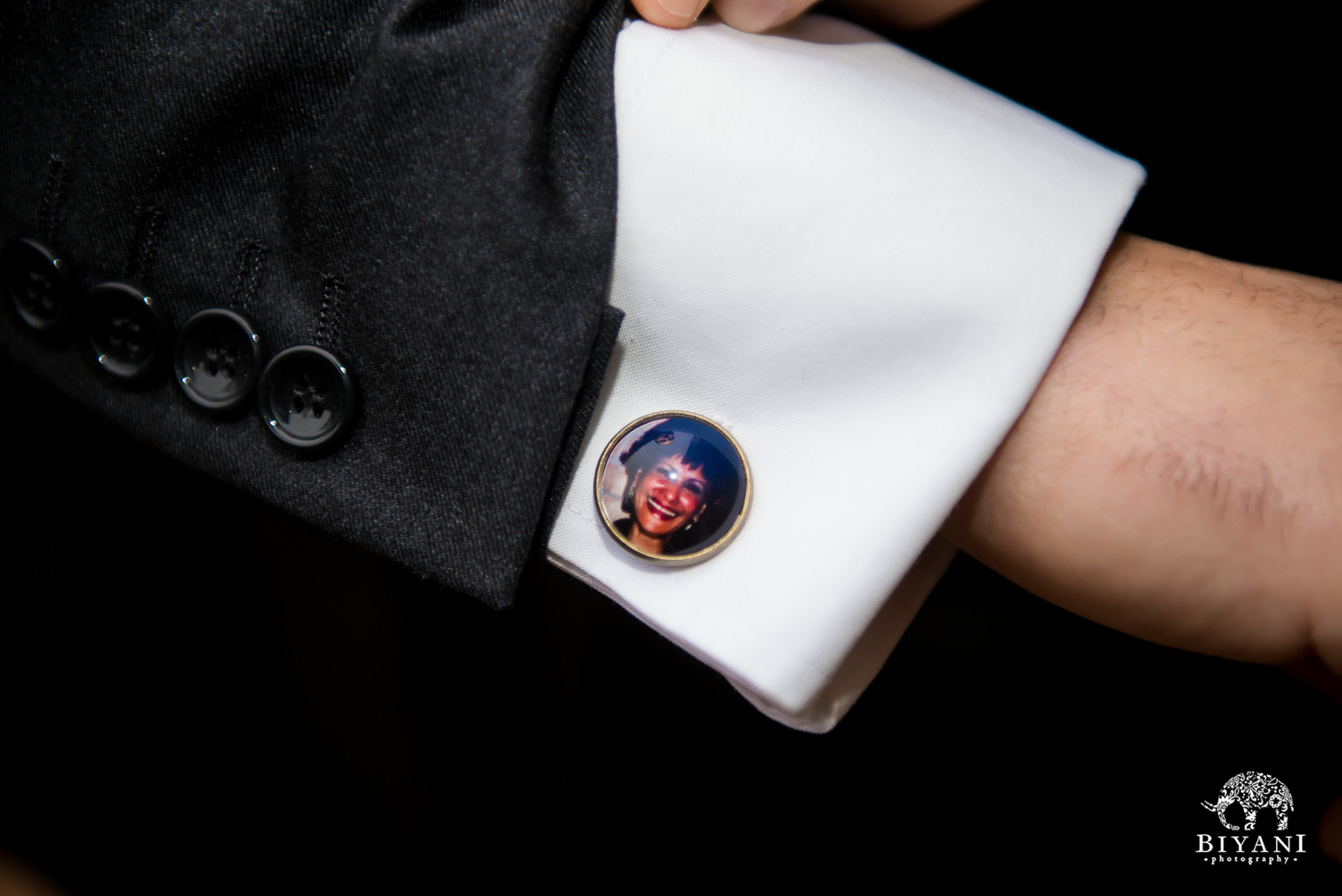 Groom's cufflinks with his mom's photo