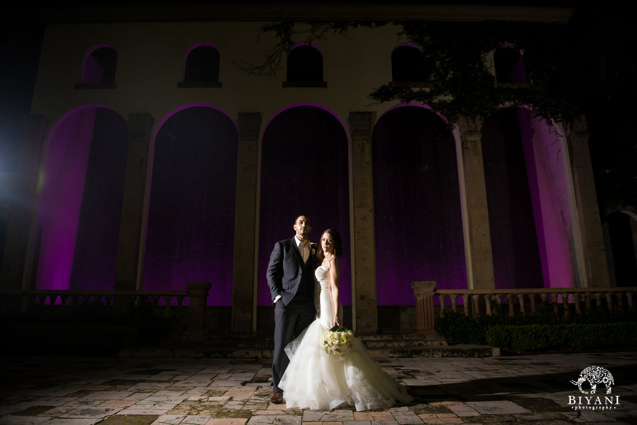 Houston Fusion Egyptian Wedding Couple Portraits outside Houston, TX Bell Tower venue