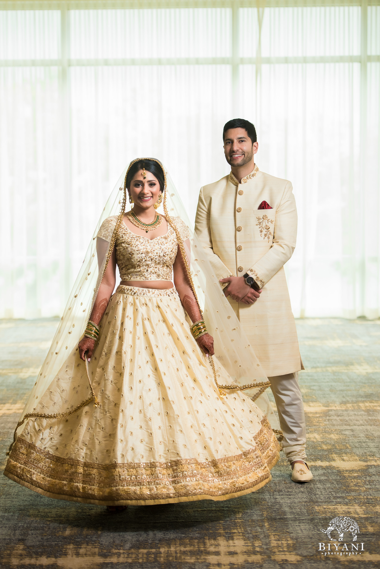 bride and groom portraits dressed in traditional Indian ceremony dress