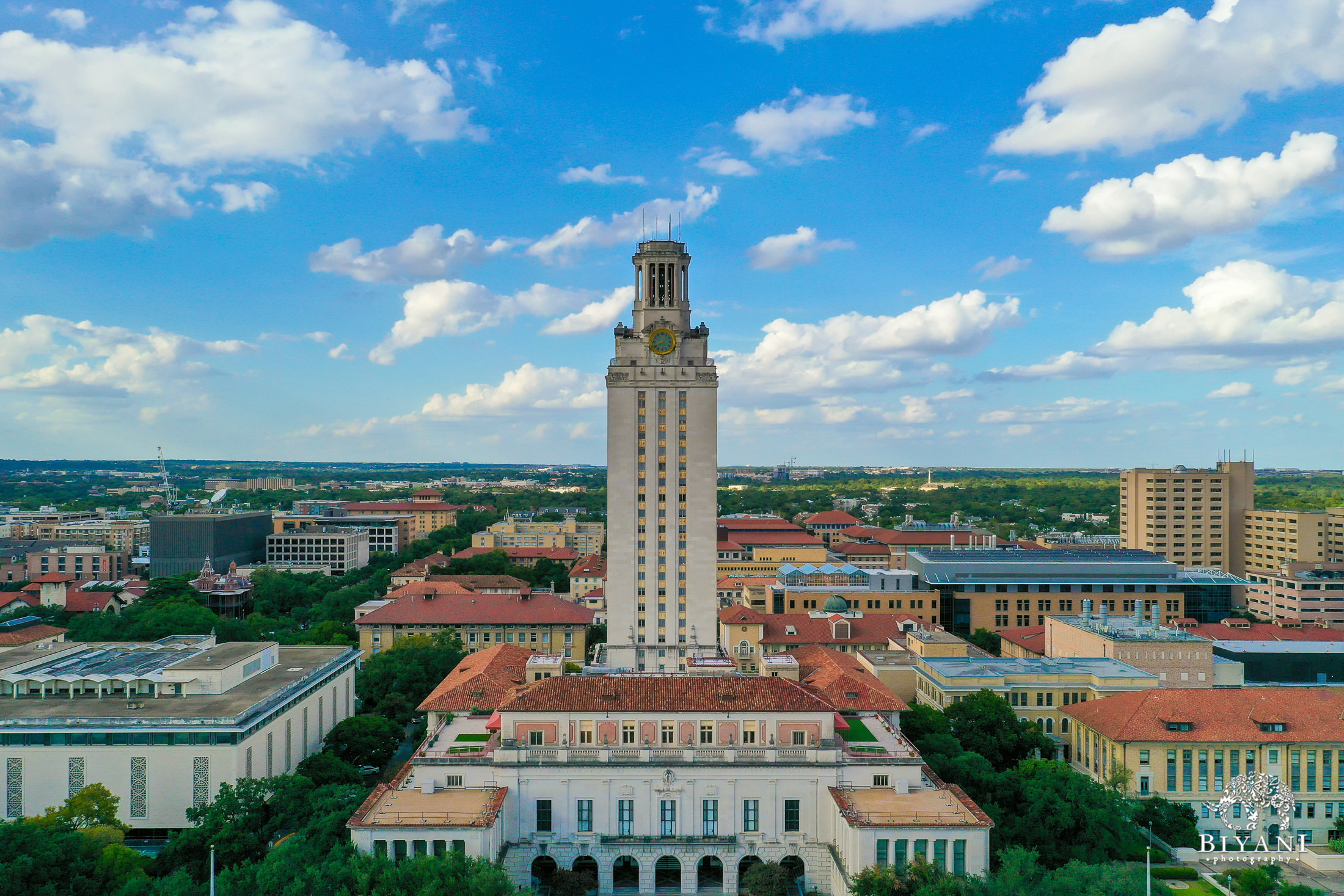 drone photo  from the sky of of University of Texas, Austin campus tower